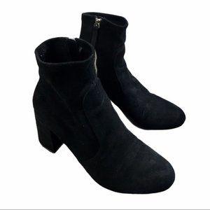 ZARA Black Faux-Suede Zip Block Heel Booties 38